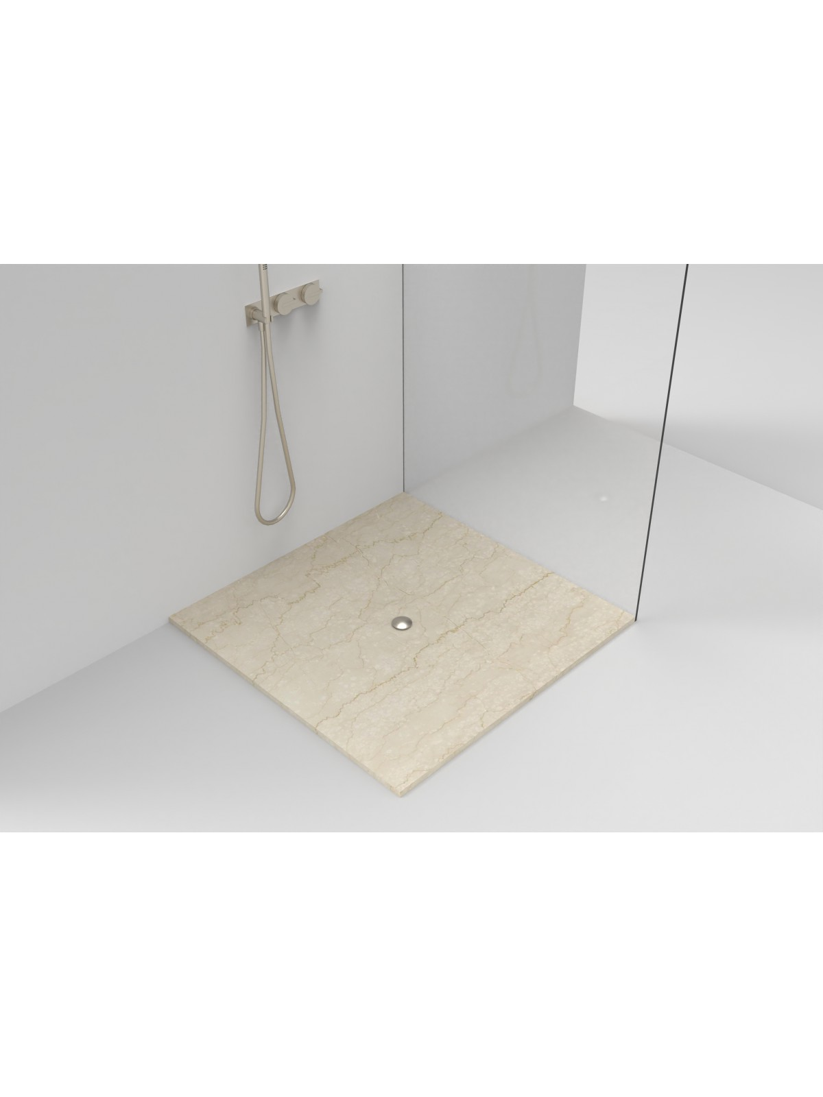 Marmor Duschplatte mit mittlerem Abfluss I Botticino